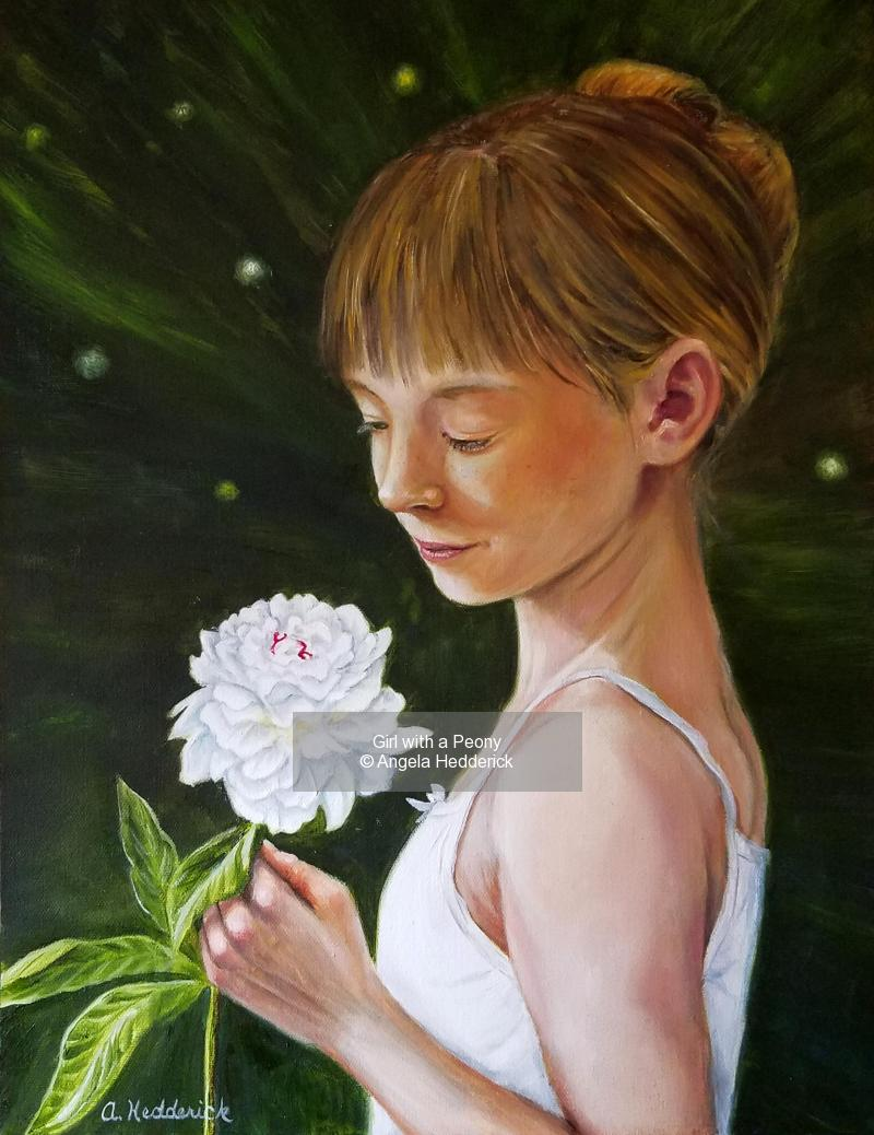 Girl with a Peony
