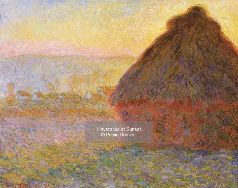 Haystacks at Sunset