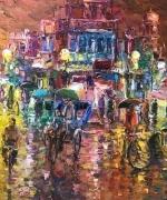 An Illuminated Indian Street in Monsoons