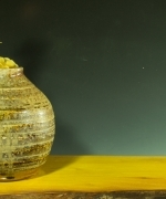 Wood Fired Vase on Wood Tray