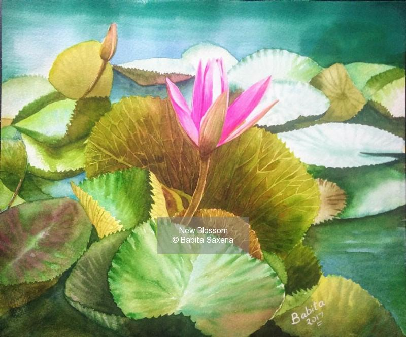 Watercolor on paper painting titled New Blossom
