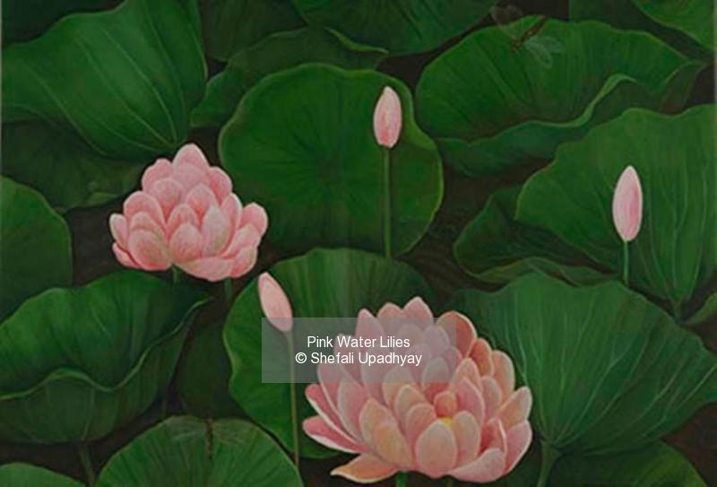 Oil on Canvas painting titled Pink Water Lilies