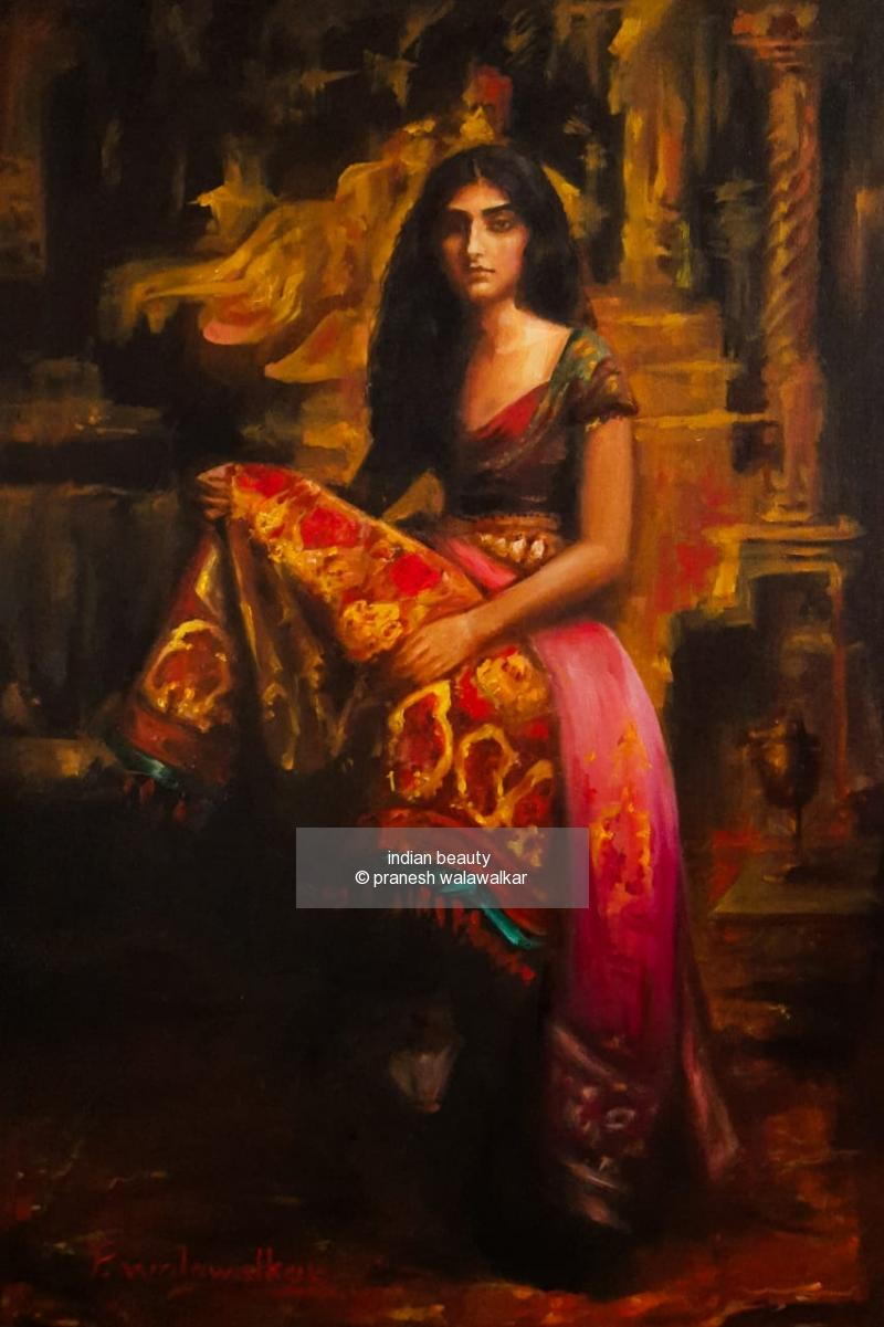 oil on canvas painting titled indian beauty