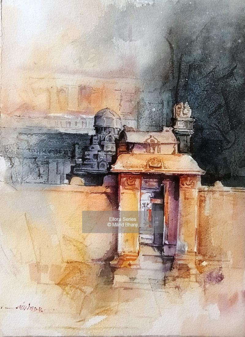 Watercolor - Daniel Smith painting titled Ellora Series