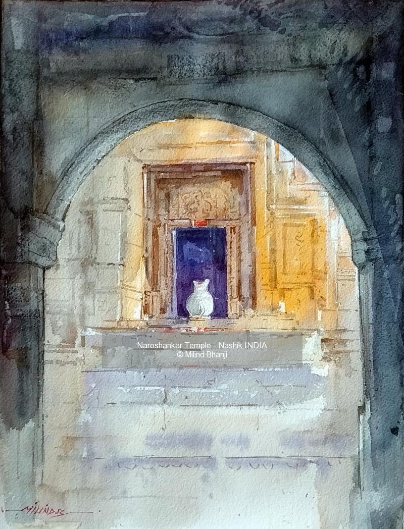 Watercolor - Daniel Smith painting titled Naroshankar Temple - Nashik INDIA