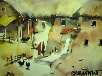 painting titled Village House