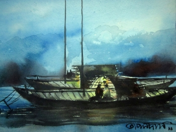 painting titled Night by the Dock