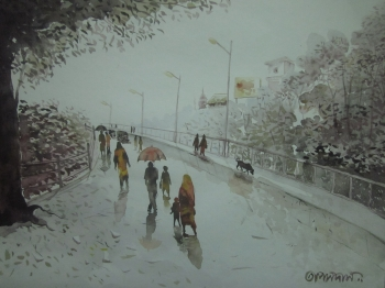 painting titled Monsoon day