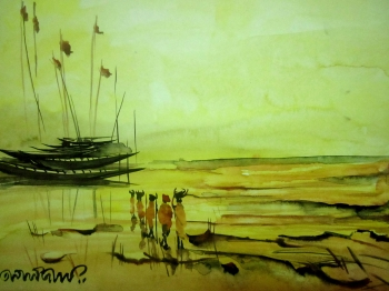 painting titled Ferry