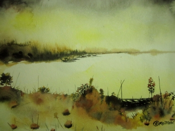 painting titled River\'s Edge