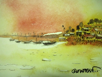 painting titled Fishing Village