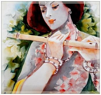 watercolor painting titled Krishna