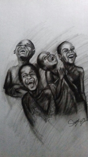 Charcoal on paper painting titled Africa