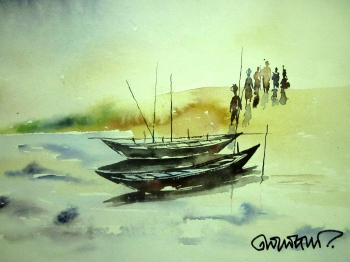 painting titled Boat by the river