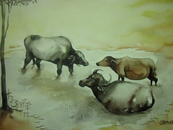 painting titled Buffalo