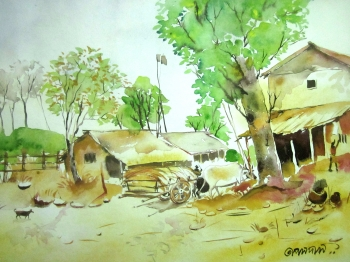 painting titled Village Scene