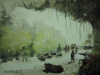 painting titled To the village fare