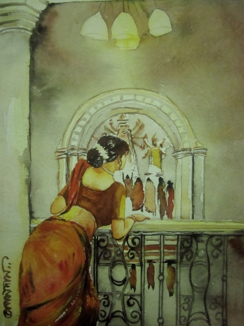 painting titled Durga