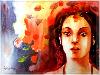 watercolor painting titled Vermillion