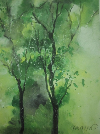 painting titled Monsoon Trees