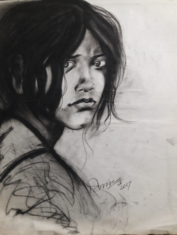 Charcoal on paper painting titled Mixed Emotions