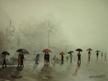 painting titled Monsoon rains
