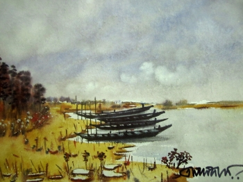 painting titled Riverfront