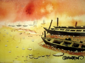 painting titled Boats