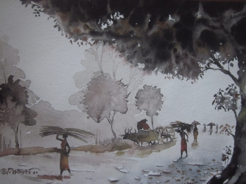 painting titled Village Road