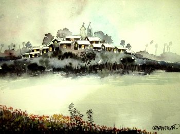 painting titled Village Pond