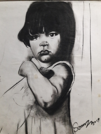 Charcoal on paper painting titled The Stare