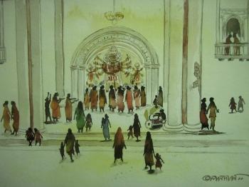 painting titled Durga Pujo