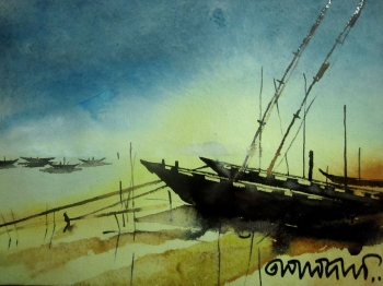 painting titled Anchored