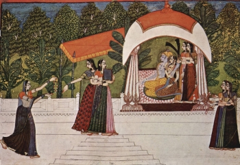painting titled Krishna and Radha on the Pavillion