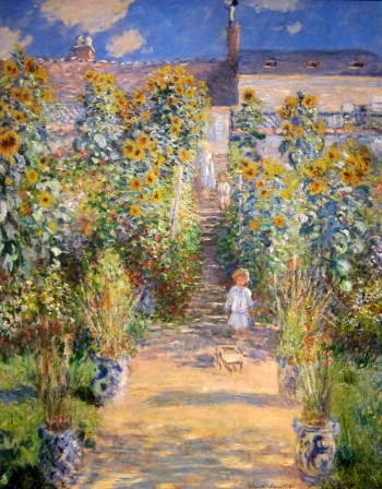 painting titled The Artist\'s Garden at V�theuil