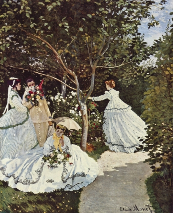 painting titled Women in the garden