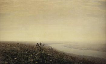 painting titled Dnepr in the morning