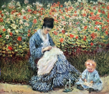 painting titled Camile Monet and a child