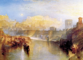 painting titled Ancient Rome Agrippina lands with the ashes of Germanicus