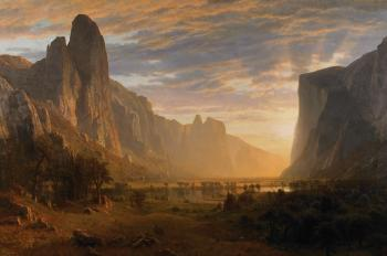 painting titled Looking Down Yosemite Valley