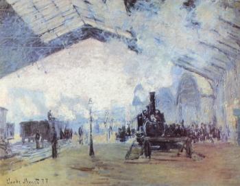 painting titled Bahnhof Saint Lazare in Paris