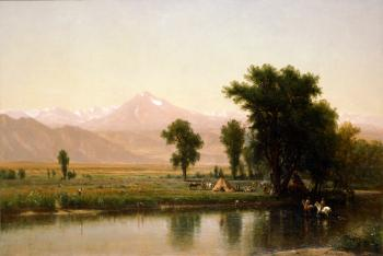 painting titled Crossing the River Platte