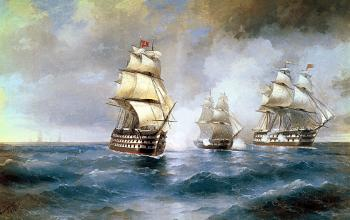 painting titled Brig Mercury Attacked by Two Turkish Ships