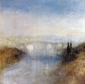 painting titled A river from a hill