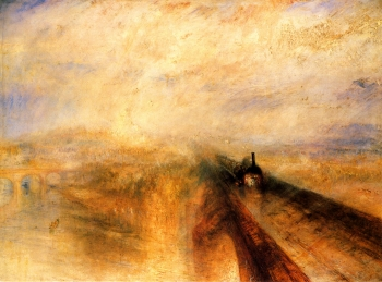 painting titled Rain, Steam and Speed - The Great Western Railway