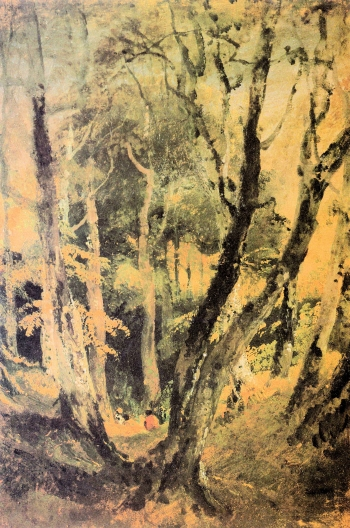painting titled Birch woods with Gypsies