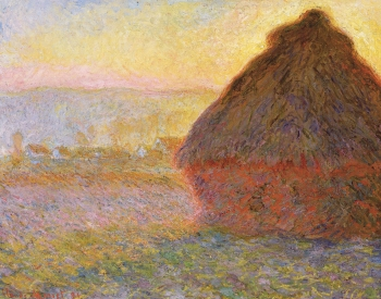 painting titled Haystacks at Sunset