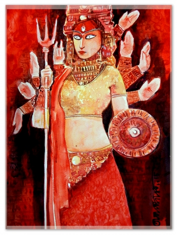 Watercolor On Fabriano Artist Paper painting titled Durga