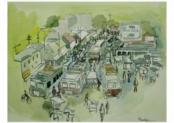 painting titled BUSY TERMINUS