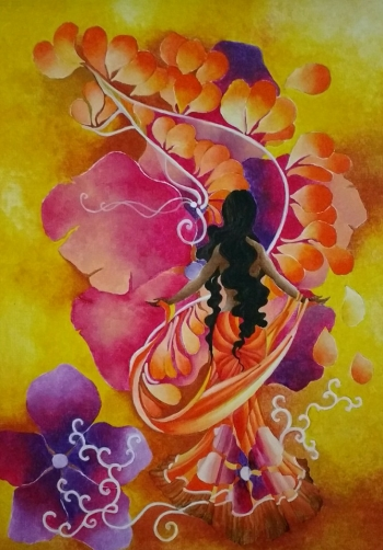 Watercolor on paper painting titled Sands of Soul